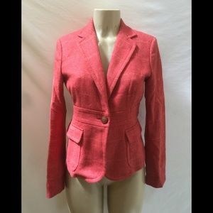 J. Crew Size 4 Pink Tweed One Button Blazer